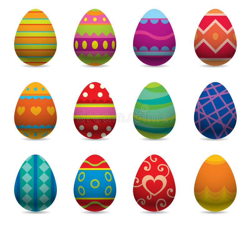 Easter eggs vector flat syle icons on vector illustration