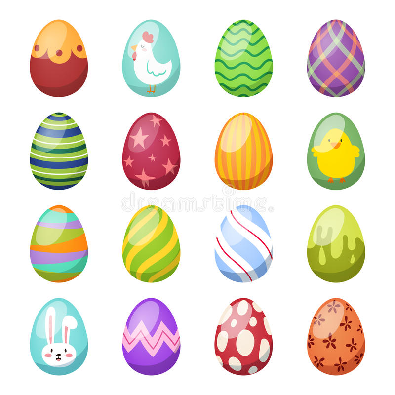 Easter eggs vector flat syle icons on stock illustration
