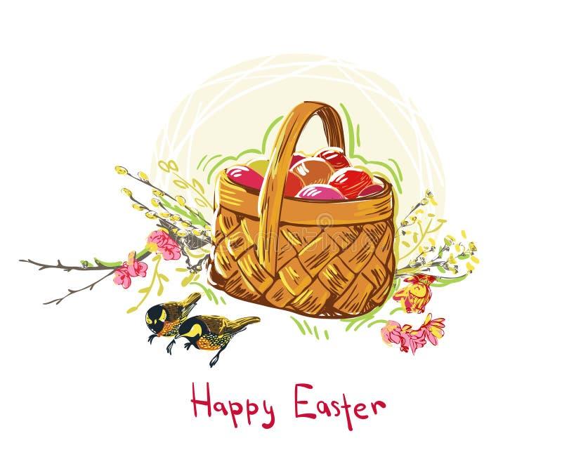 Easter eggs vector paint style design flower colorful basket royalty free illustration