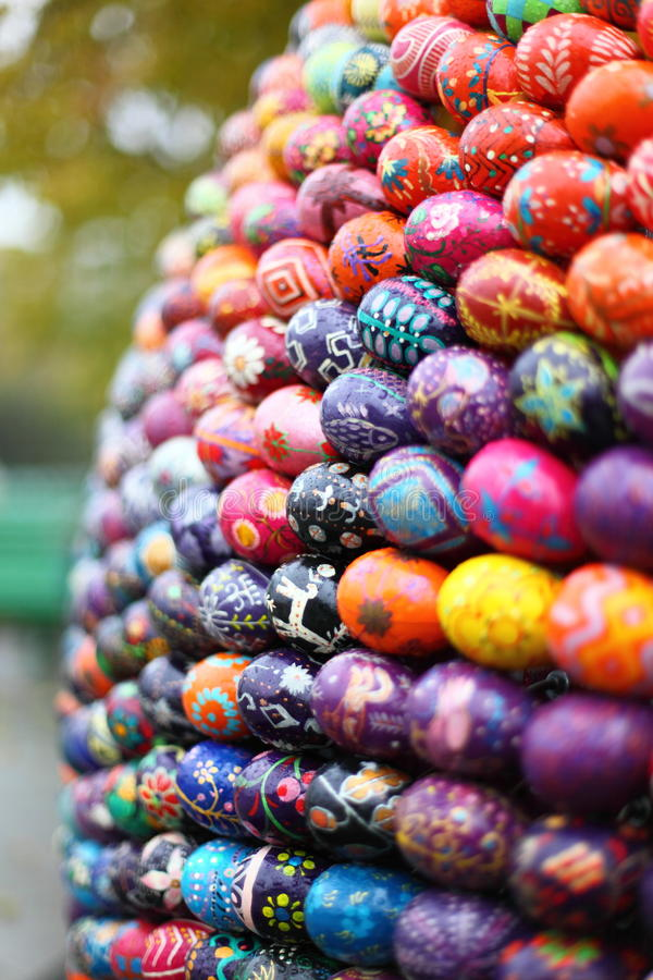 Easter eggs vertical right stock image