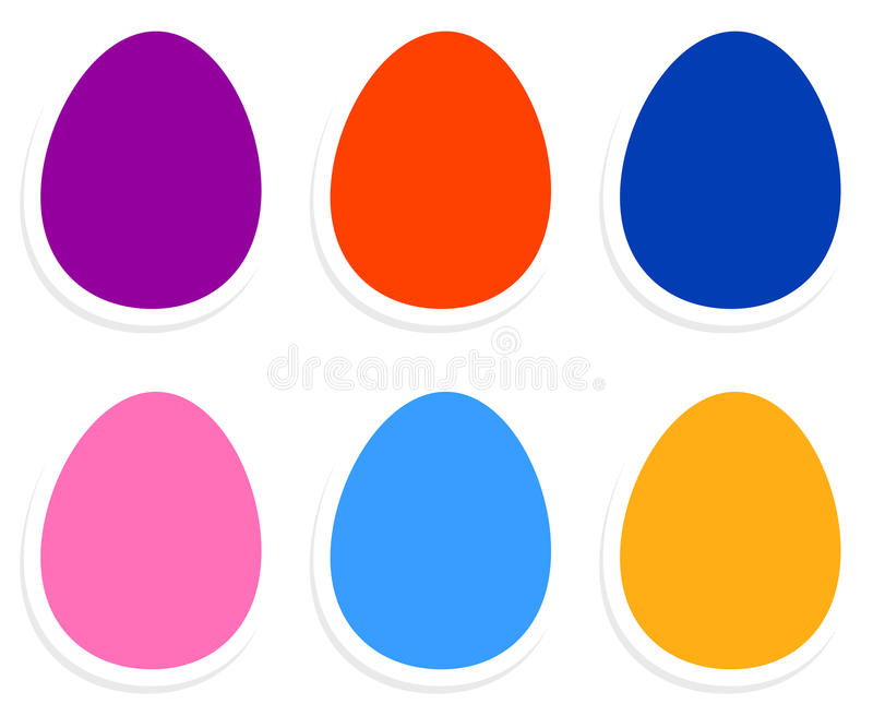 Colorful easter eggs collection. Easter eggs in vibrant colors isolated on white. Vector royalty free illustration