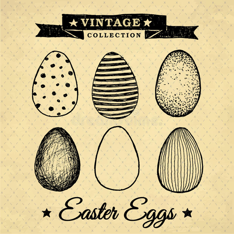 Easter eggs - vintage collection stock photo