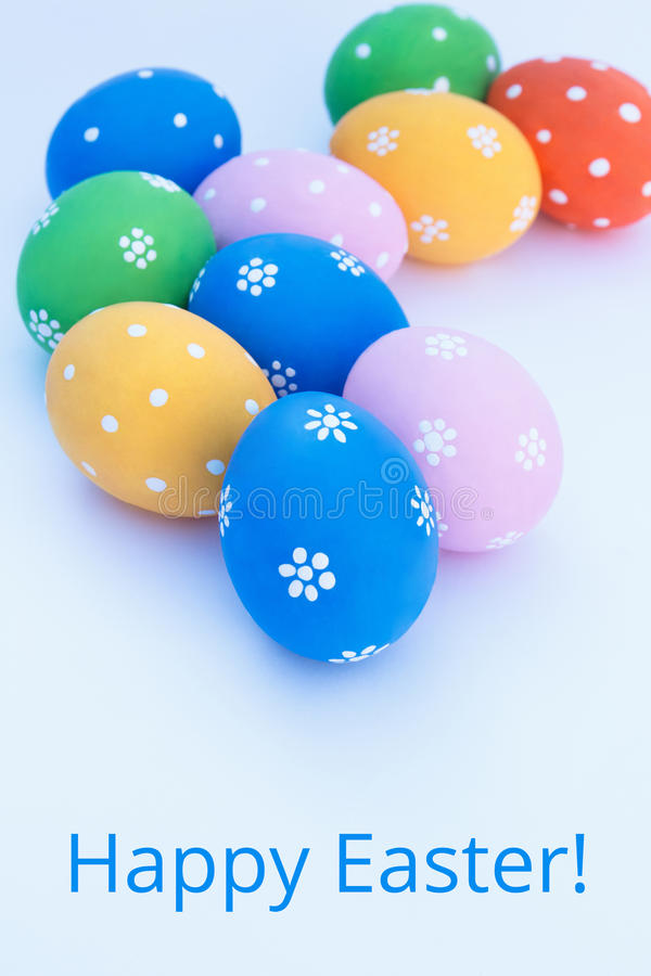 Easter eggs on a white background stock photos