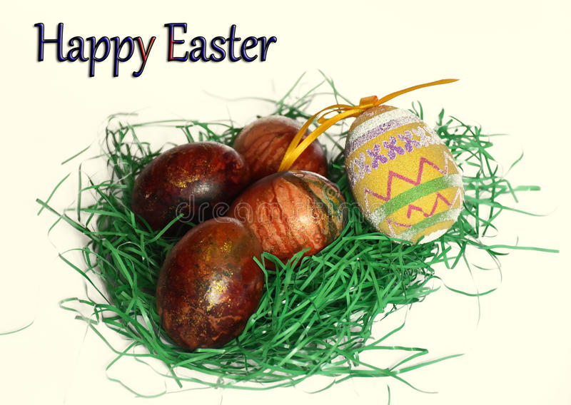 Easter eggs on a white background royalty free stock photo