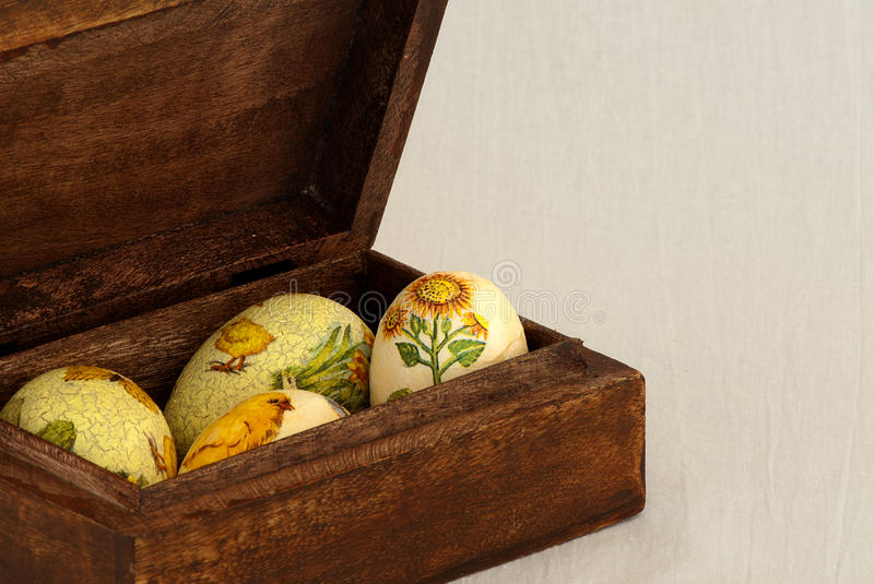 Download Easter eggs in wood box stock photo. Image of scene, greetings - 19041866