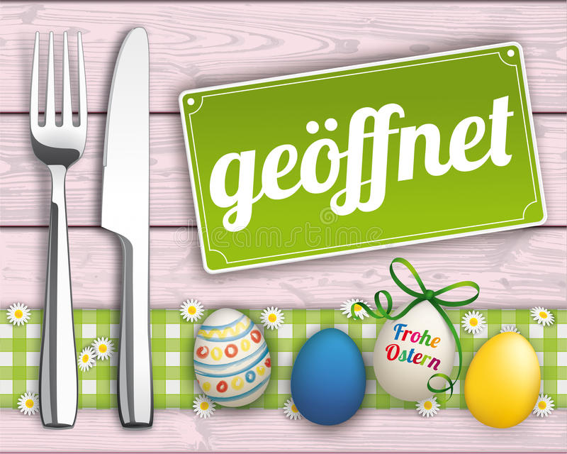 Easter Eggs Wood Checked Cloth Knife Fork Sign Open stock illustration