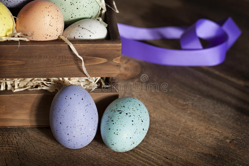 Easter Eggs in Wood Crate 2 stock photo
