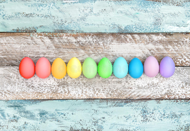 Easter eggs wooden background Colorful decoration royalty free stock photo