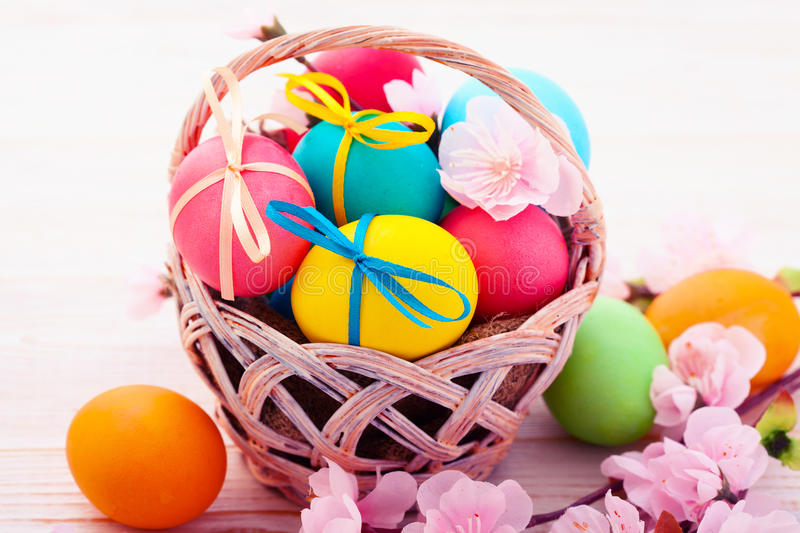 Easter eggs on wooden background royalty free stock photography