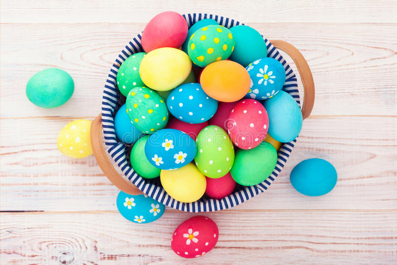 Easter eggs on wooden background stock image