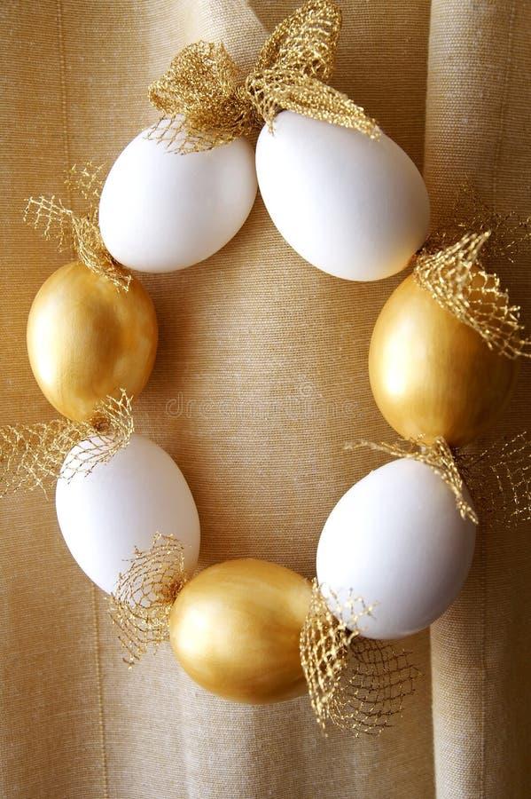 Easter eggs wreath stock photo