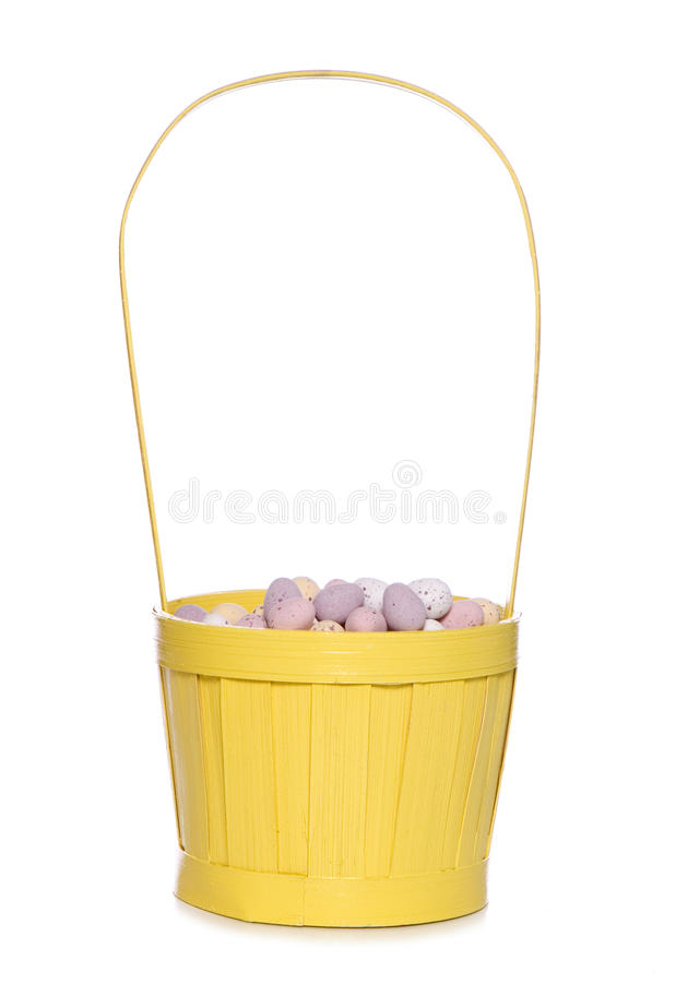 Easter eggs in a yellow basket