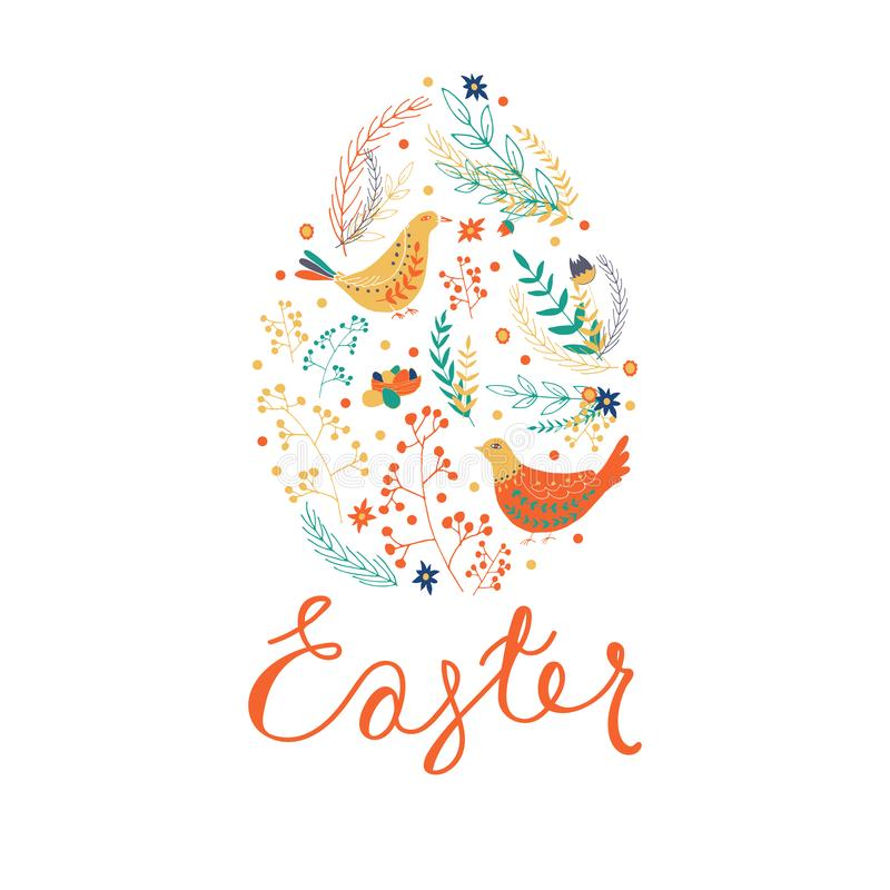 Easter elements inside of egg shape. Happy Easter set of hand drawn objects. royalty free illustration