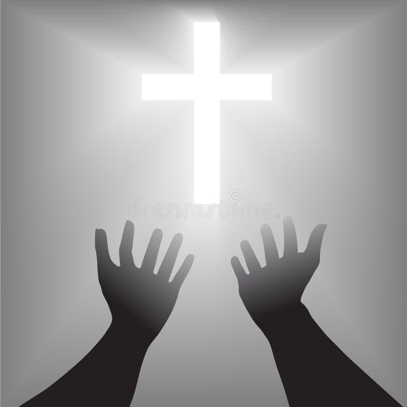 Easter entrega a silhueta transversal ilustração do vetor
