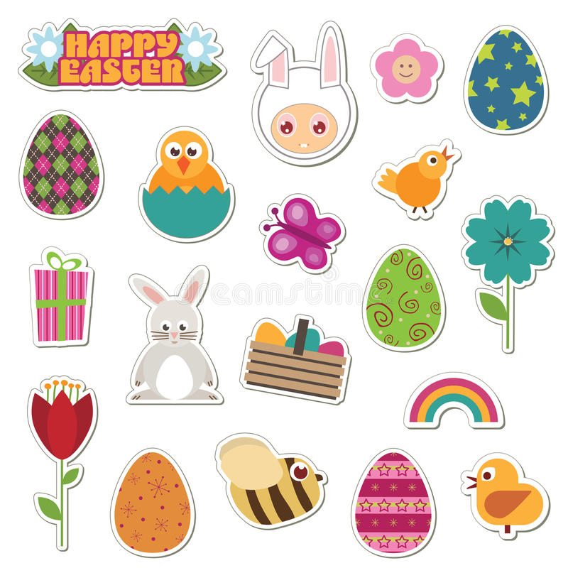 easter etiketter royaltyfri illustrationer