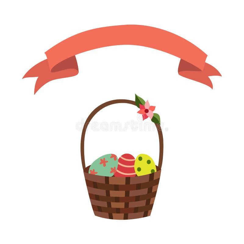 Easter för blommor för vide- korg för vektor plant band stock illustrationer