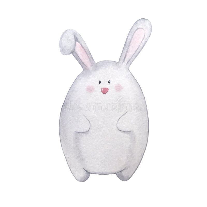 Easter för utdragen vattenfärg för hand grå kanin stock illustrationer