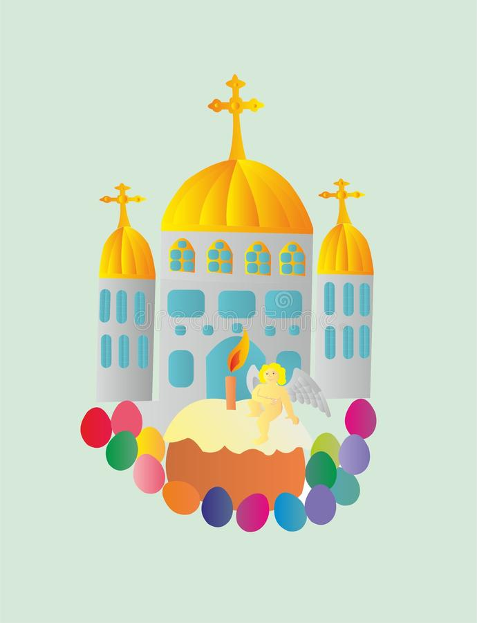Easter Christian holiday. Easter is the feast of the Bright Resurrection of Christ. The first Easter was celebrated by the ancient Jews 1500 years before Christ vector illustration