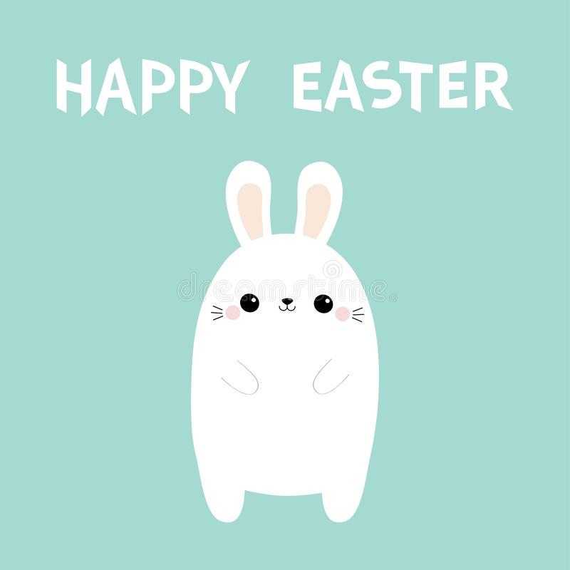 Easter feliz Coelho branco do coelho Personagem de banda desenhada bonito do kawaii Cara principal engraçada Orelhas grandes Mãos ilustração stock