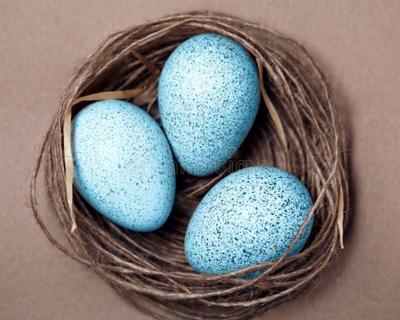 Easter feliz Fundo com os ovos naturais no ninho fotos de stock