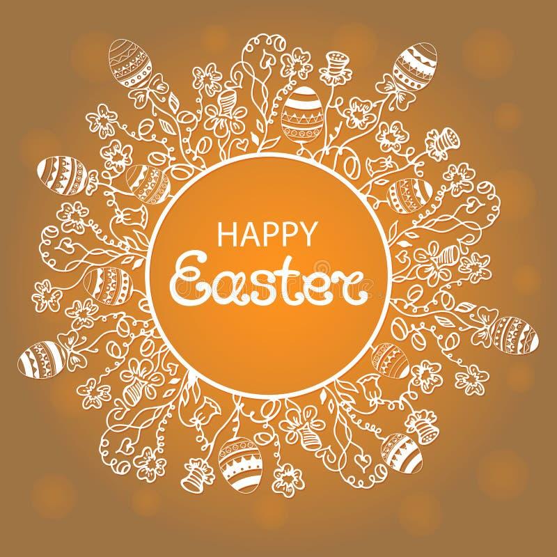Easter feliz Grinalda com flores, ervas e ovos ilustração stock