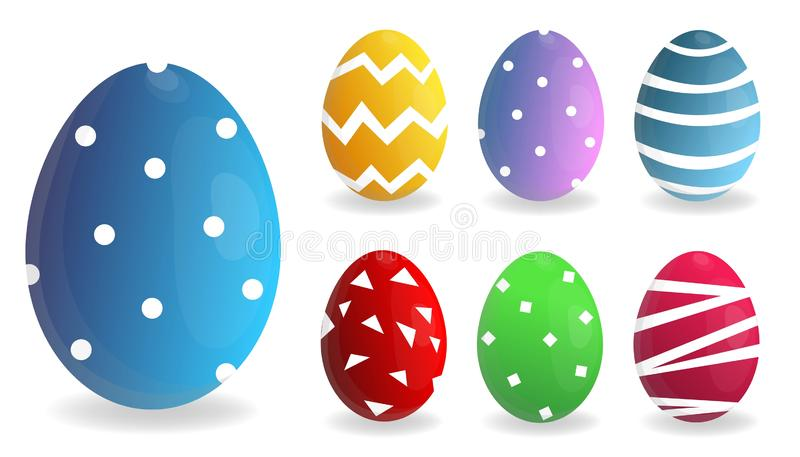 Easter feliz Grupo de ovos da p?scoa com textura diferente em um fundo branco Feriado da mola Ilustra??o do vetor Ovos da p?scoa  ilustração stock