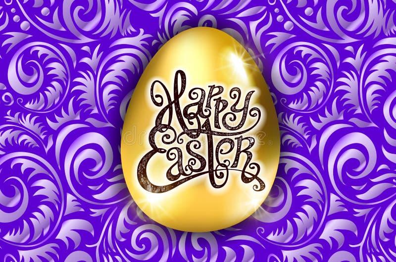 Easter feliz Rotulação da caligrafia Cartão bonito ovo dourado com o ornamento roxo abstrato Vetor backround violeta a ilustração royalty free