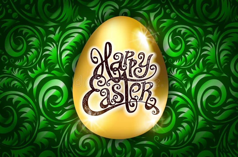 Easter feliz Rotulação da caligrafia Cartão bonito ovo dourado com o ornamento verde abstrato Vetor arte do backround ilustração do vetor
