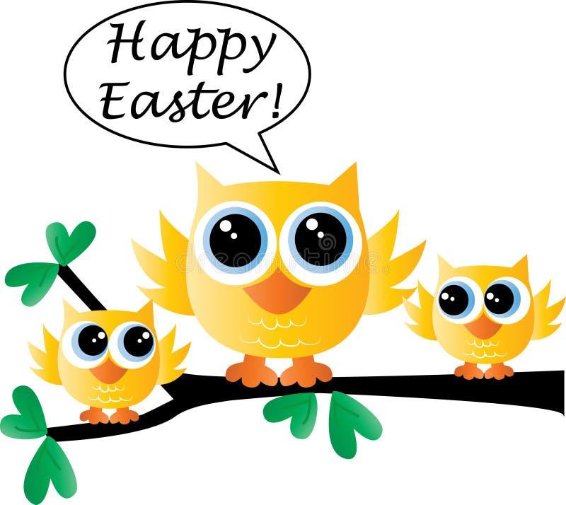 Easter feliz uma família de pássaro amarela pequena bonito ilustração royalty free