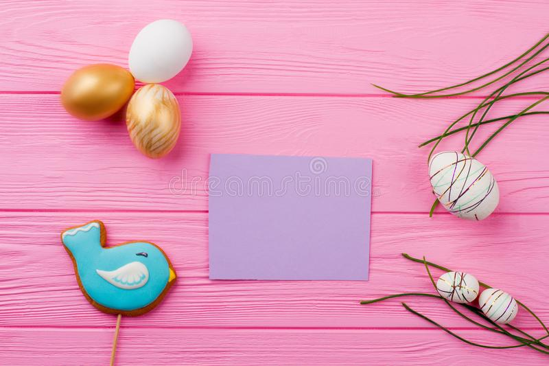 Easter festive background and blank card. stock photography