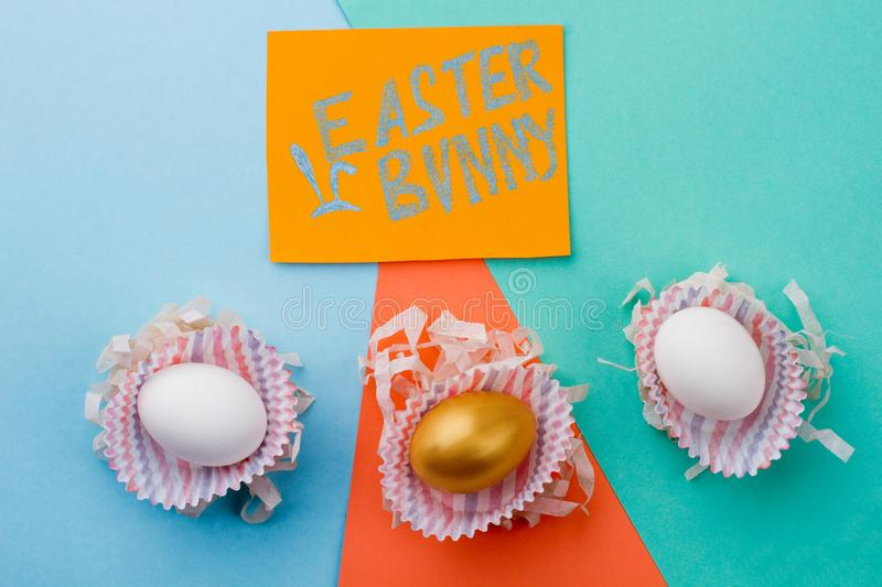 Easter festive background with eggs. royalty free stock image