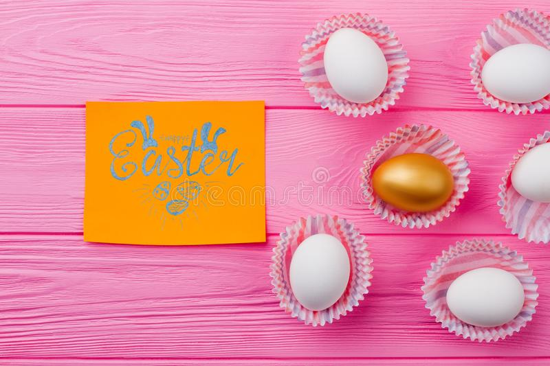 Easter festive background with eggs. stock photo