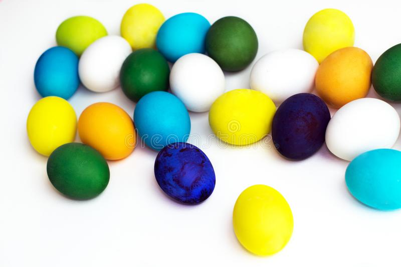 Easter Festive Colorful Eggs On A White Background. Eggs Yellow ...