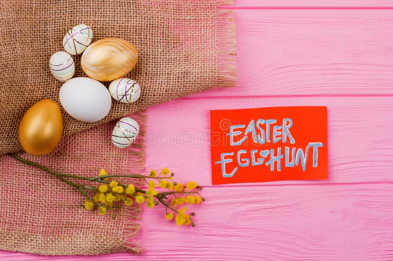 Easter festive composition on burlap. stock photography