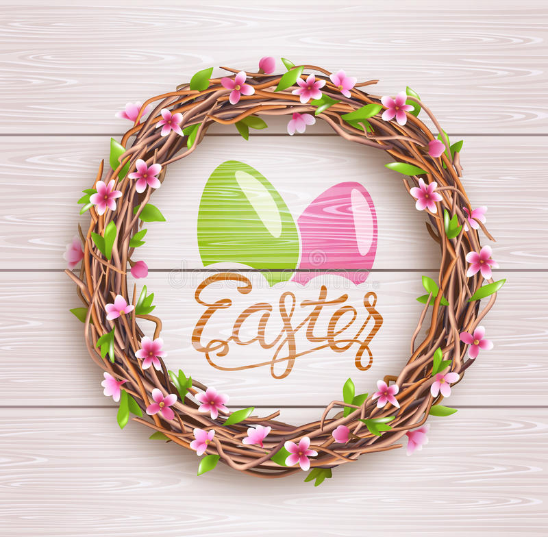 Easter Festive Twigs Wreath with Flowers on Wooden Background stock image