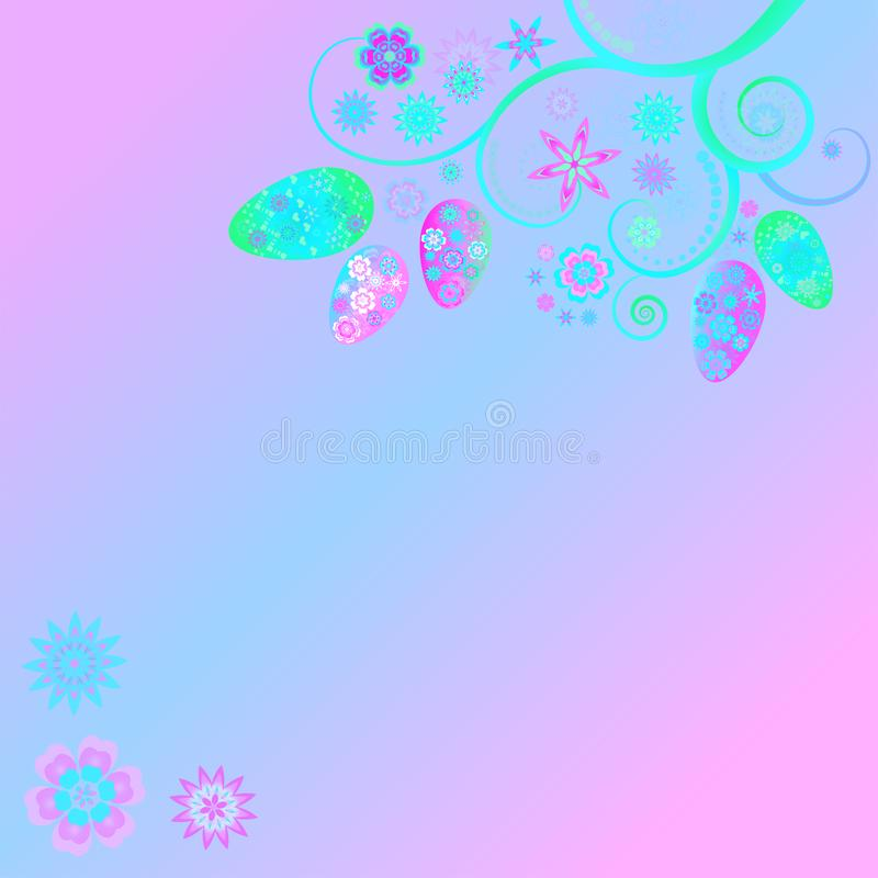Easter floral design with easter eggs and flowers. royalty free illustration