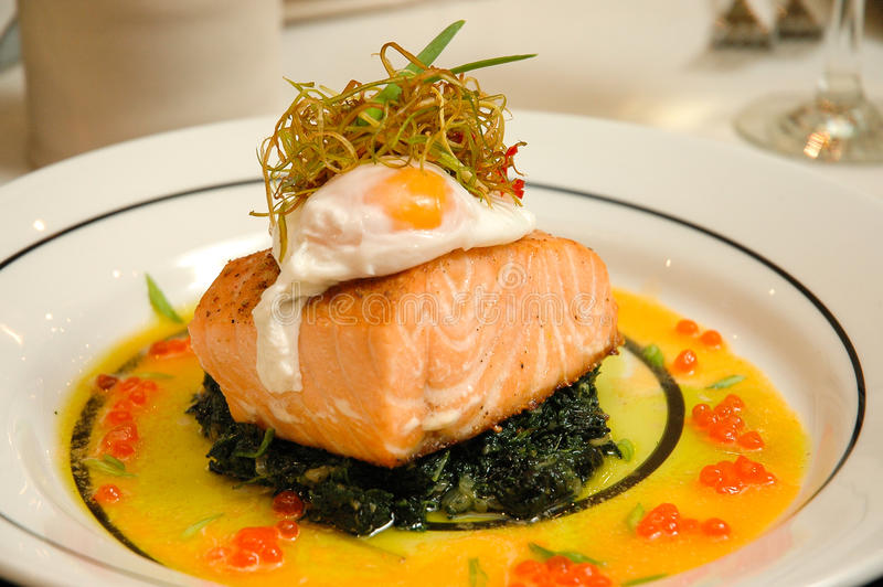 Easter food. Salmon with egg and caviar royalty free stock photos