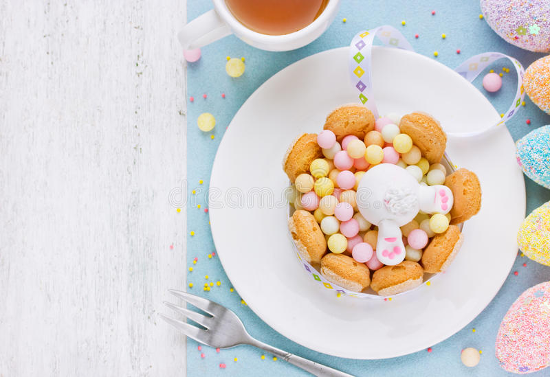 Easter food colorful background of candy biscuits and fondant bu stock photography