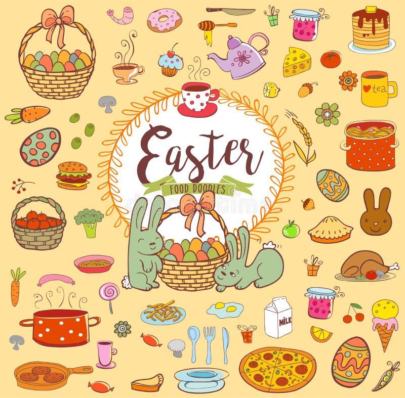 Easter food doodles royalty free illustration