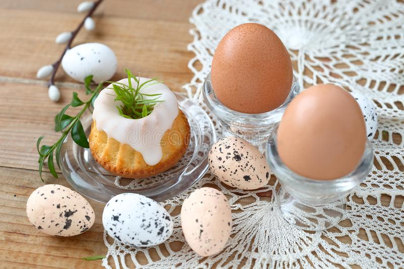 Easter food. Bundt cake and eggs, polish tradition royalty free stock image