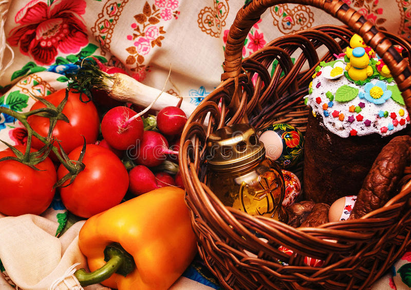 Easter food for horses. Easter food Easter food. Preparation for Easter. Food for the Easter holiday stock photos