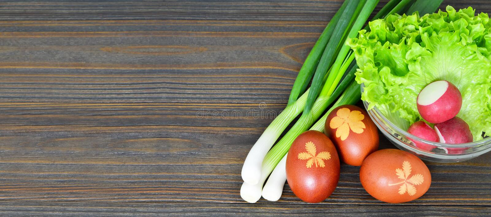 Easter food on wooden background. With copy space stock photography