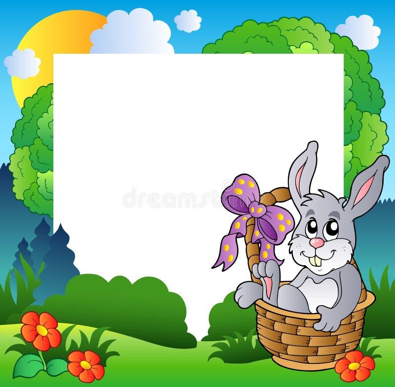Download Easter Frame With Bunny In Basket Stock Vector - Illustration: 18636164