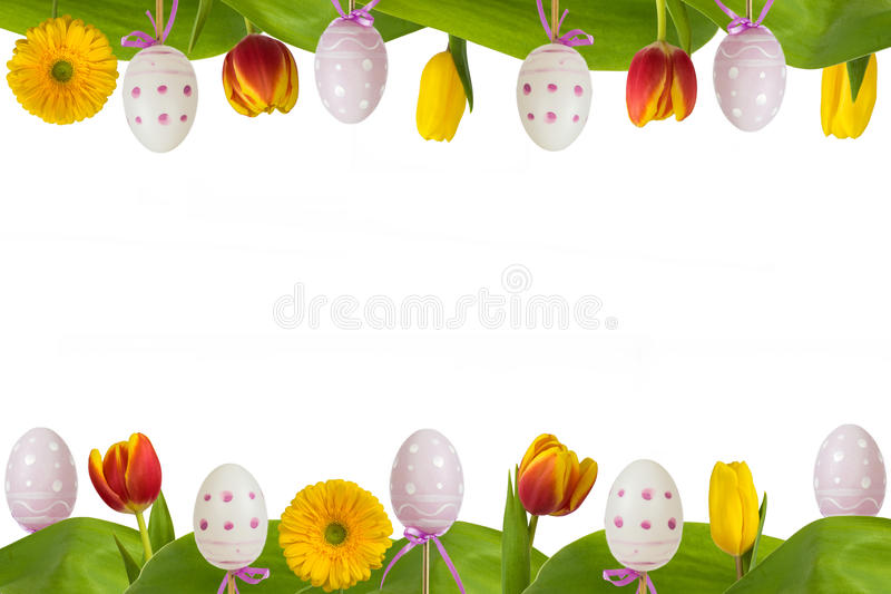 Easter frame colorful flowers and eggs stock illustration
