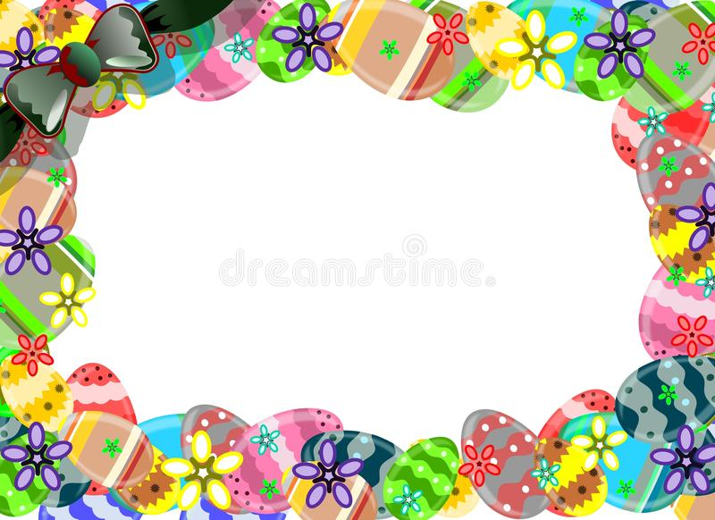 Easter framework made with colorful eggs stock photo