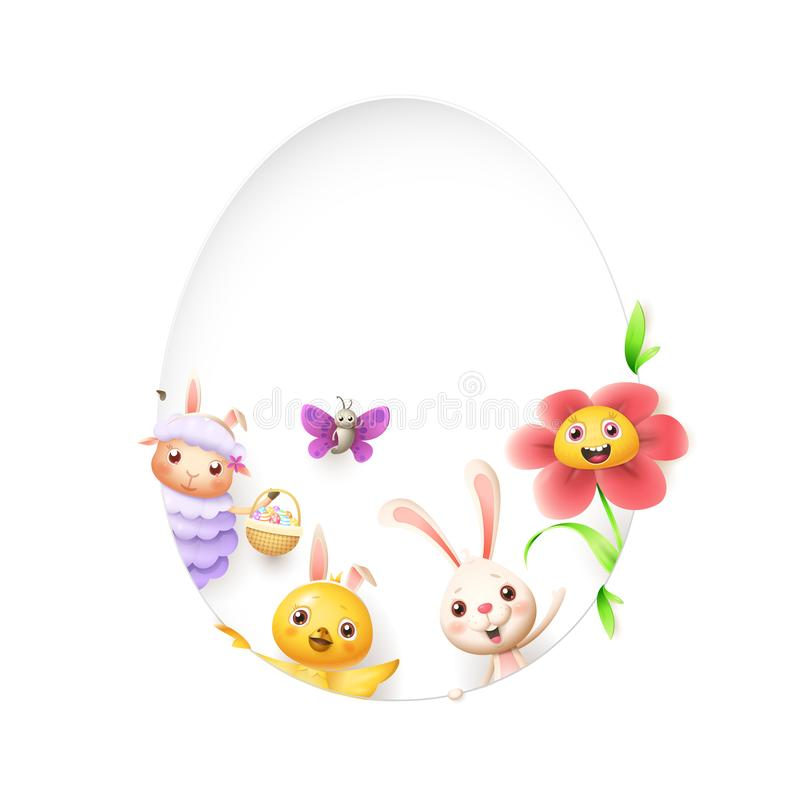 Easter friends sheep bunny chicken butterfly and flower peeking behind egg shape hole on white background royalty free illustration