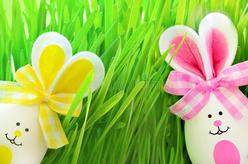 Easter funny bunny on green grass with easter eggs. Easter background. Easter funny bunny on green grass and easter eggs. Easter background stock photo