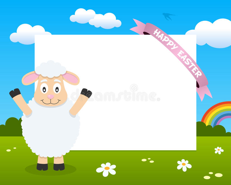Easter Funny Lamb Horizontal Frame. Easter horizontal photo frame with a cute lamb in a meadow with a pink ribbon. Eps file available stock illustration