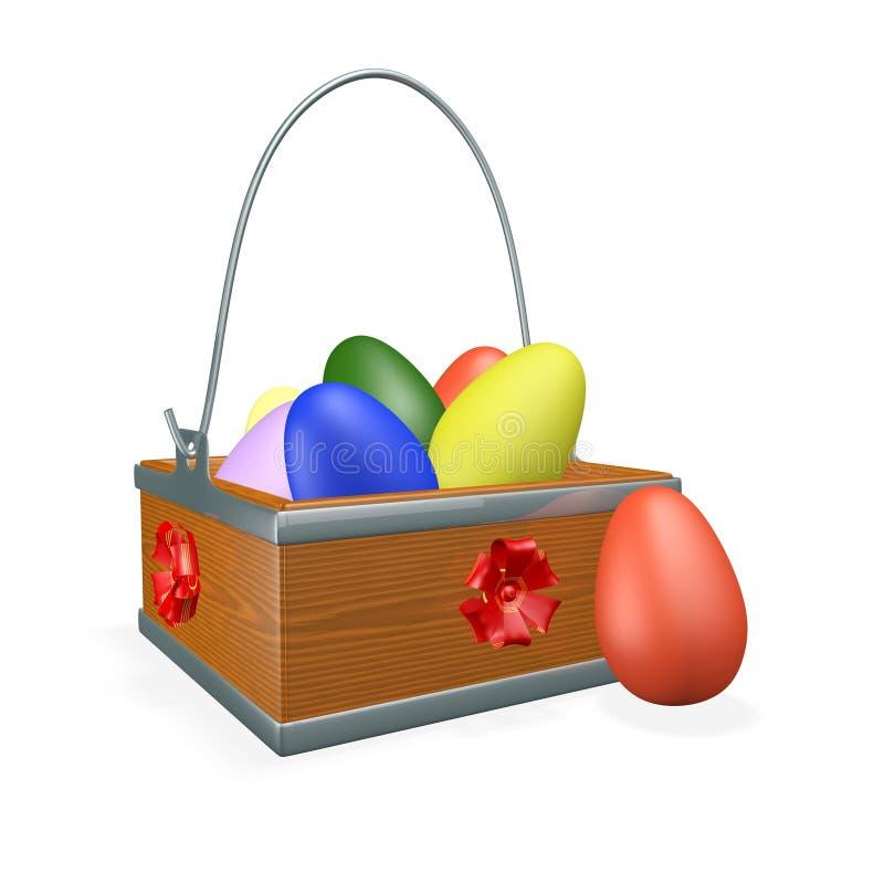 Easter Gift Basket Full of Colorful Eggs vector illustration