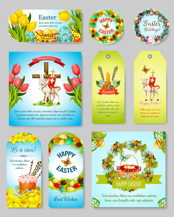Easter gift tag greeting banner and poster set stock vector easter gift tag greeting banner and poster set easter egg and cake with spring flower rabbit bunny and egg hunt basket with floral wreath negle Image collections